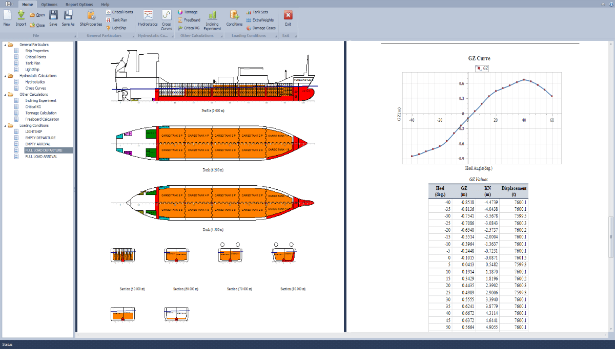 Ship stability and strength calculation software